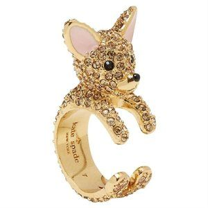 Kate Spade Gold Haute Stuff Chihuahua Dog 7 Ring